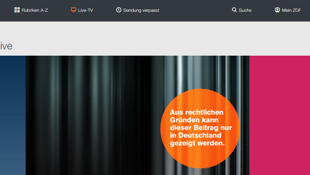 Error message if you try to watch ZDF from abroad