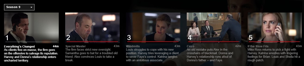 Here you can see the Suits season 9 episodes on Netflix